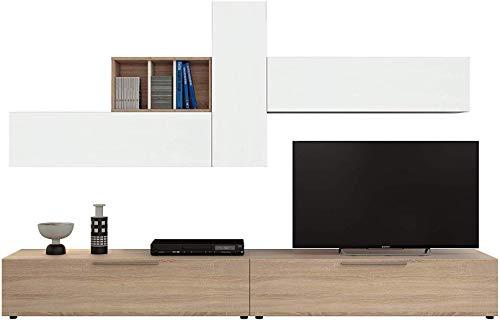 San Fernando Parete Attrezzata Soggiorno Mobile TV con Vani E Mensole Legno Base Televisione Salotto Sala da Pranzo Design Moderno 260 x 42 x 32 cm Colore Bianco Artik e Rovere