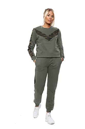 janisramone Damen-Jogginganzug, Vogue-Print, 2-teiliges Set Gr. Medium, Chevron Trainingsanzug Army Dark Khaki