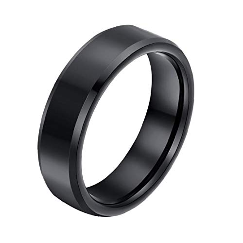 Hommes Bague Brillant Solide Couleur Bague Bague Acier Titane Hommes Casual Taille 12 accessoire bijoux noir