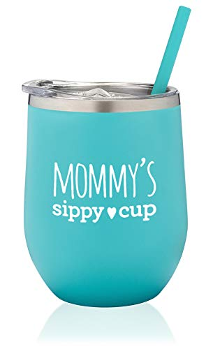 SassyCups Mommy's Sippy Cup | Stainless Steel Stemless Wine Tumbler with Straw | Funny Wine Glass Tumbler For Mom to Be | Mommy Tumbler | New Mom (12 Ounce, Mint)