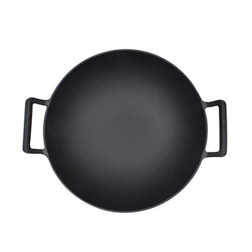 min min Wok Non Stick36CM Gusseisen Pfanne, físico antihaft-Kochgeschirr, Pan Grueso MIT HOLZDECKEL Pan