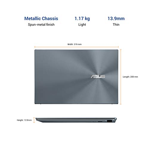 ASUS ZenBook 14 (2020) Intel Core i7-1165G7 11th Gen 14-inch FHD Thin and Light Laptop (16GB RAM/512GB NVMe SSD/Windows 10/MS Office 2019/Intel Iris Xᵉ Graphics/Pine Grey/1.17 kg), UX425EA-BM701TS