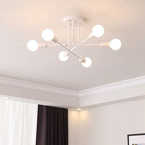 Plafondlamp, led-plafondlamp, creatieve moderne landelijke stijl, 6 lampen, ijzeren kroonluchter E27 houder voor binnen- woonkamer lamp kinderkamer eetkamer keuken hal decoratie
