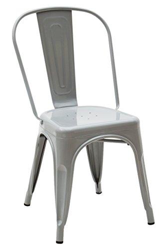 White loft, Set di 2 Sedie, Metallo, Grigio, 45x50x85 cm