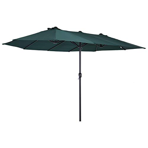 Outsunny Sombrilla Doble Parasol Grande 4.6x2.7m Sombrilla Jardín Patio con Manivela Manual...