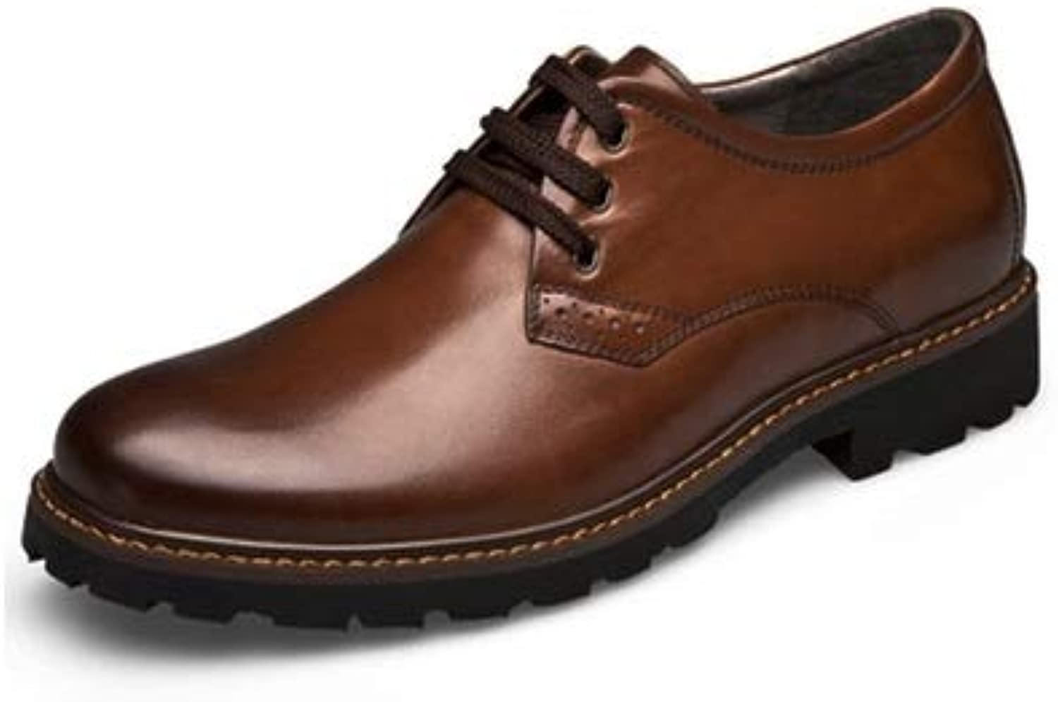 MUMUWU Men's Fashion Leather Oxford shoes Casual Comfort OX Leather Lace Up Classic Leisure shoes (color   Brown- Lace, Size   9.5 D(M) US)