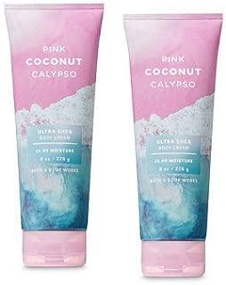 Bath and Body Works 2 Pack Pink Coconut Calypso Ultra Shea Body Cream 8 Oz.