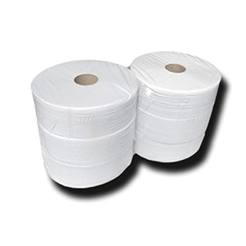 6 Jumbo Toilettenpapier 2 lagig, Jumbo Klopapierrollen, Recycling-Klopapier, Toilettenpapier-Recycling, 25cm x 300m