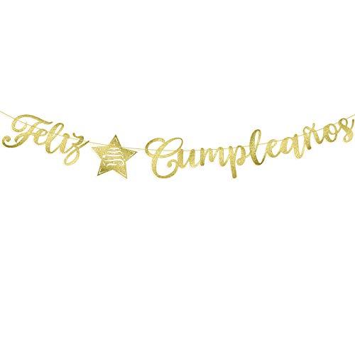 Guirnalda Feliz Cumpleaños Español Banderín Decorativo Colgar Pancarta Papel para Fiesta de Cumpleaños Happy Birthday Banner Bandera Felicidades Papel DIY Cartulina (Dorado)