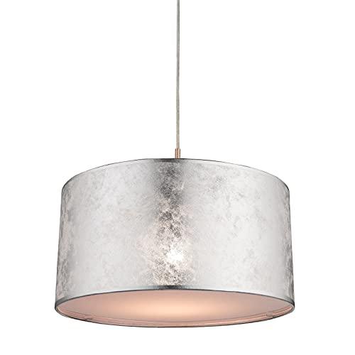 Lámpara de techo para salón, vintage, mesa de comedor, moderna, gris, lámpara de techo para dormitorio, pantalla de tela plateada, lámpara colgante para comedor, pasillo, redonda, 40 x 140 cm