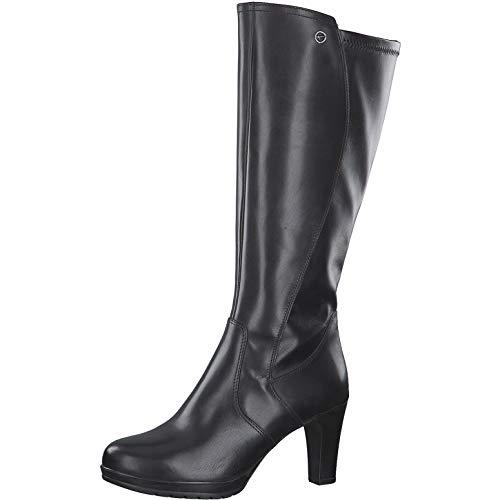 Tamaris Damen Stiefel, Women Woman Abend elegant Feier Boots lederstiefel langschaftstiefel reißverschluss weiblich Lady Ladies,Black,38 EU / 5 UK
