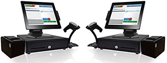 Retail Point of Sale System Two Stations - Includes Touchscreen PC (2), POS Software (Retail POS Monthly) (2), Receipt Printer (2), Scanner (2), Cash Register (2), and Credit Card Swipe Reader (2)