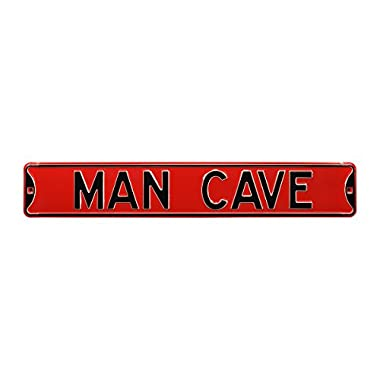 Authentic Street Signs  Man Cave  Steel Sign, Red/Black