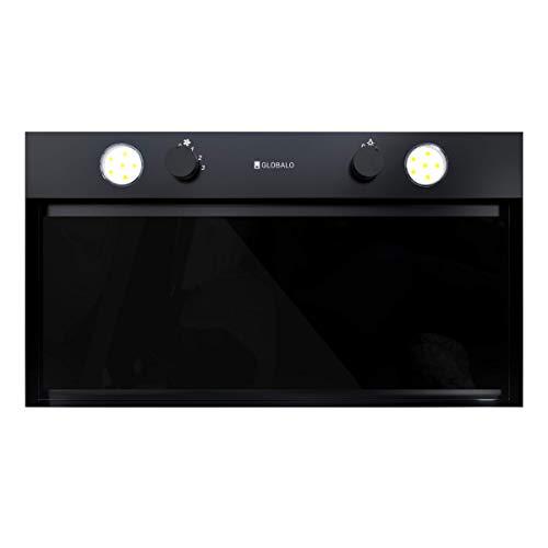GLOBALO Floweri 60.1 Black - Campana extractora de cocina con iluminación (60 cm de ancho, 3 niveles de potencia, cristal templado y acero lacado, color negro)