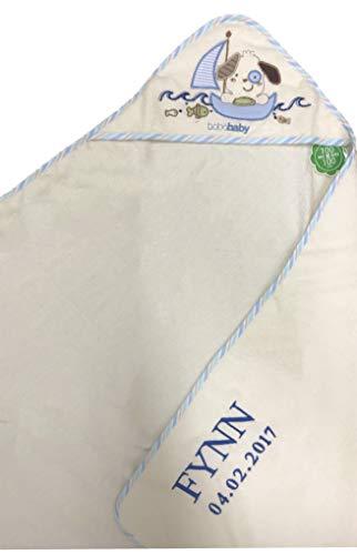 *Kapuzenhandtuch bestickt mit Name und Geburtsdatum / 100×100 cm/kuschelig weich / 1A Qualität (Beige – HUND im SEGELBOOT)*