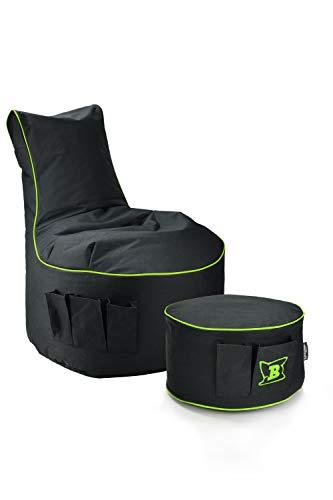 Maverick Gaming Set Sitzsack mit Sitzhocker/Fußbank Schwarz mit Keder Farben wählbar Beanbag mit Seitentaschen & Reißverschluss zum nachfüllen Playstation PS4 XBOX360 XboxOne Nintendo (Lime)