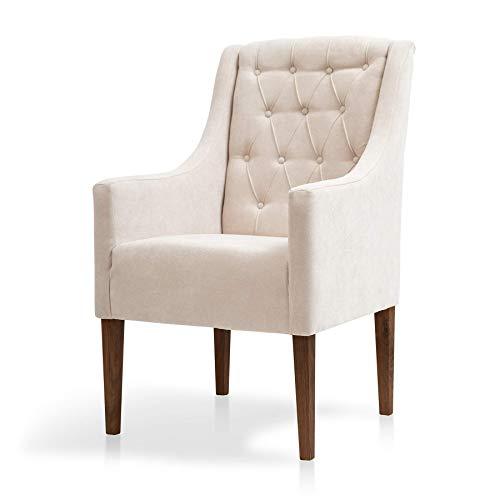SUENOSZZZ-ESPECIALISTAS DEL DESCANSO Butaca de Estilo clásico Modelo Florencia, sillón para salón, habitación o tocador, Respaldo con Botones en capitoné tapizado en Tela Antimanchas Beige