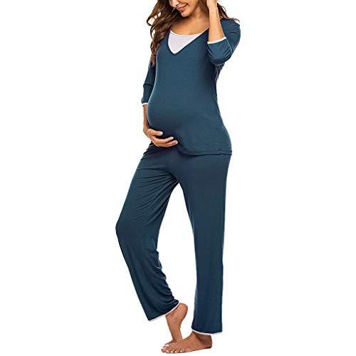 Vrouwen Casual Moederschap pyjama Set 3/4 Lange Mouw T-Shirt Tops+Broek Pak Effen Elastische Lounge Draag Zachte Zwangere Verpleging Nachtjapon Zwangerschap Nachtshirt Slaapmode Plus Size Maxi Doek