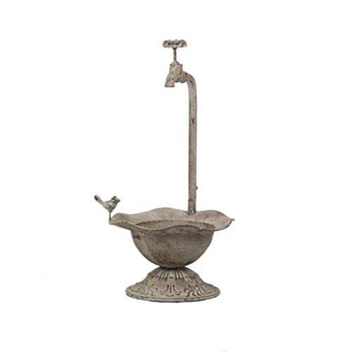 All Chic Distressed Metal Tap Planter Bird Bath Bowl Ornament Flowers Outdoor Garden