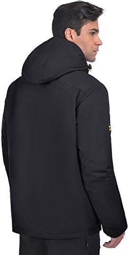HARD LAND Men/'s Winter Work Jacket Waterproof Hooded Insulated Coat Parka Outerwear