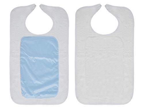 Pack of 12 Adult Clothing Protectors With Partial Barrier, White 18 x 30. Reusable, Waterproof Adult Bibs with Hook and Loop Closure. Machine Washable Mealtime Protector for Men and Women.