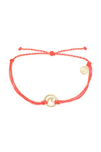 Pura Vida Gold Wave Bracelet w/ Plated Charm - Adjustable Band, 100% Waterproof - Strawberry