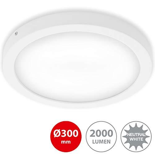 Briloner Leuchten - LED Aufbauleuchte, Deckenlampe, Deckenleuchte 21 Watt, 2.000 Lumen, 4.000 Kelvin, Rund, Weiß, 300x32mm (DxH)