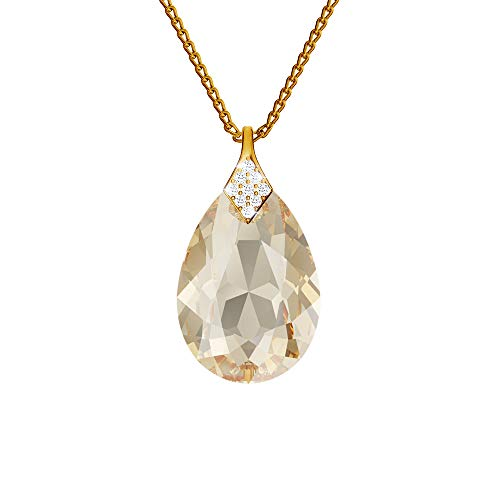 24K Gold Plated 925 Sterling Silver Necklace with Crystals from Swarovski - Pear - Golden Shadow - Necklace with Pendant for Women - Beautiful Jewellery for Women with Gift Box