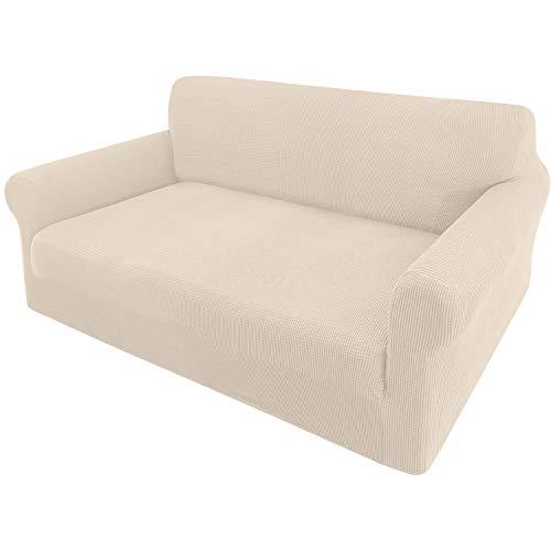 Granbest - Funda elástica para sofá de 2 plazas, elegante, funda para sofá para gatos, perros, muebles, cubiertas, lavable, tejido jaquard (2 plazas, beige)