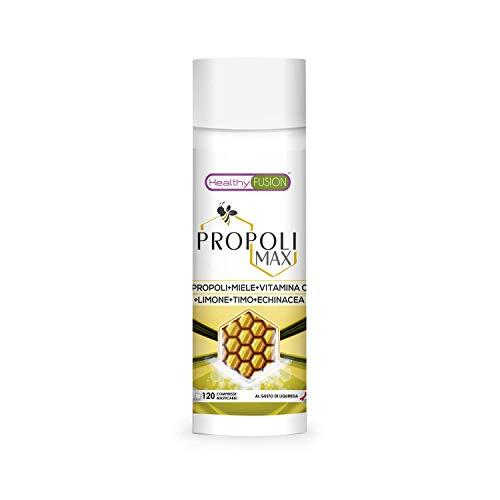 Propoli pura con miele, vitamina C, timo ed echinacea | Propoli naturale per proteggere le difese | Antibiotico e antibatterico naturale | Antinfiammatorio disinfettante | 120 compresse masticabili