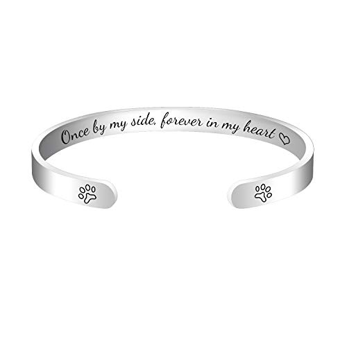 Dog or Cat Paw Memorial Cuff Bangle Bracelet Jewelry Pet Memorial Gifts for Women Men,Support Personalized Custom Engrave Name(Once by my side, forever in my heart)