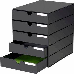 Styro Schubladenbox styroval USM 5 Schubladen geschlossen schwarz/schwarz