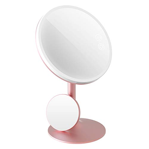 BABYLTRL 9' Makeup Mirror Vanity Mirror with Lights, 3 Color Lighting Modes 70 LED Lighted Mirror, 1X/5X Magnification, Touch Screen Switch, 90 Degree Rotation, Portable Cosmetic Lighted Up Mirror