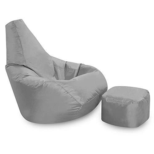 Bean Bag Bazaar Sitzsack mit hoher Rückenlehne und Hocker, Gaming-Sitzsäcke - Grau, Gewebe, Abwischbar, Wasserabweisend, Sitzsäcke für den Innen- und Außenbereich, für Wohnzimmer, Schlafzimmer, Garten