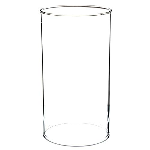 WGVI Hurricane Candleholders, Wide 4', Height 8', Clear Glass Cylinder Open Both Ends, Chimney Tube, Open Ended Hurricane, Candle Shade, 1 Piece
