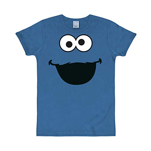 Logoshirt - Sesamstrasse - Krümelmonster Gesicht - Slimfit T-Shirt - blau - Lizenziertes Originaldesign, Größe XXL