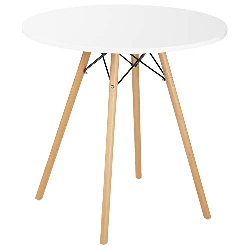 Bravich Mid-Cetury Retro Modern Style 80CM Round Dining Table With Natural Wooden Legs White Dining Side Table
