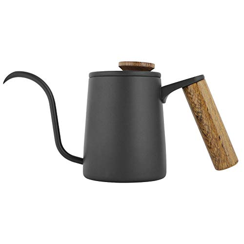 Fdit Cafetera de goteo de 350 ml con mango de acero inoxidable, cuello de cisne, hervidor de agua con multiples usos, embalaje socialme-eu(negro)