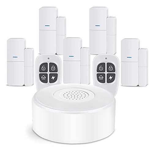 AGSHOME Alarme Maison sans Fil Intelligent WiFi - Alarme de Porte et de Fenêtre,(2nd Gen) 1 Alarme avec Sirène, 5 Capteurs de Fenêtre et de Porte, 2 Télécommande, Compatible avec Alexa