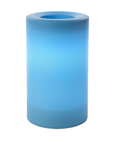 """Inglow CGT20305BL - 3"""" x 5"""" Blue Outdoor Flameless Pillar Candle with Timer"""