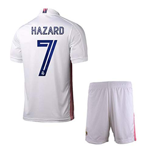 BNHG 2020/2021 Home New Soccer T-Shirts #7 Hazard Kids/Youths Jersey & Shorts Color White 10-11years