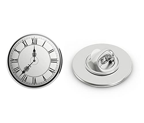 BRK Studio Classic Roman Numeral Analog Watch Face Clock Round Metal 0.75' Lapel Pin Hat Shirt Pin Tie Tack Pinback