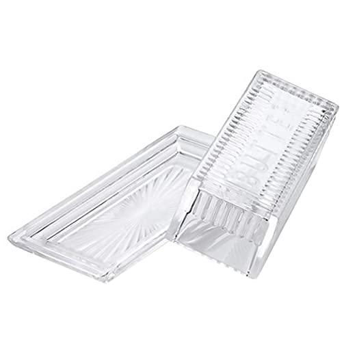 Plato de vidrio para mantequilla con tapa, cubierto de cristal transparente, rectangular, para mantequilla, para tartas, para pan, bandeja para almacenamiento, recipiente para alimentos, accesorio de