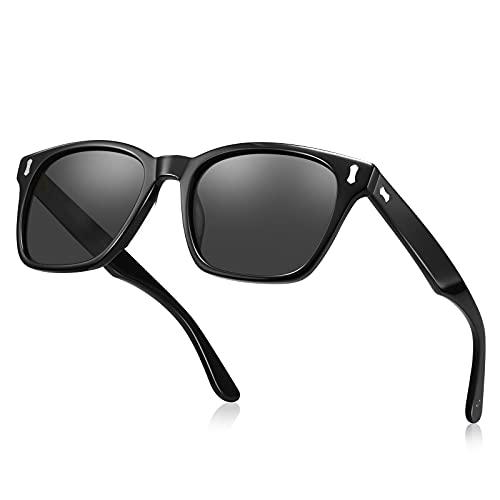 TSEBAN Klassische Polarisierte Sonnenbrille Herren UV 400 Brille Outdoor Fahren Sport Brille, Acetat-Gestell/Holzbügeln