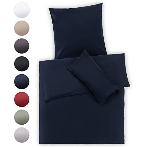 Blumtal Mako Satin Bettwäsche 135 x 200 cm mit Kissenbezug 80x80 cm - 100% Baumwolle, Superweiches Bettbezug Set, Dark Ocean Blue