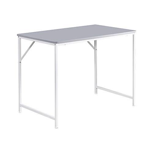 Saadiya Escritorio de ordenador simple para estudio, mesa de escritura, portátil, mesa de oficina, para adultos, niños, estudiantes, 100 x 60 x 75 cm (gris)