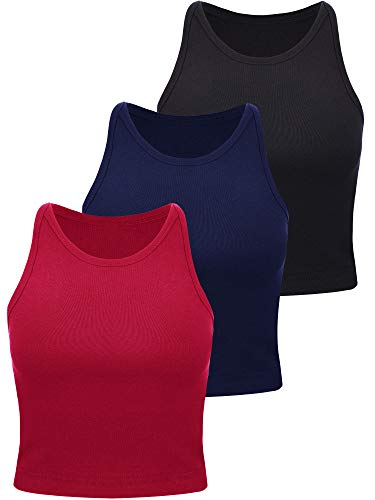 Boao 3 Pieces Women's Basic Sleeveless Racerback Crop Tank Top Sports Crop Top for Lady Girls Daily Wearing (Black, Wine Red, Navy Blue, Medium)