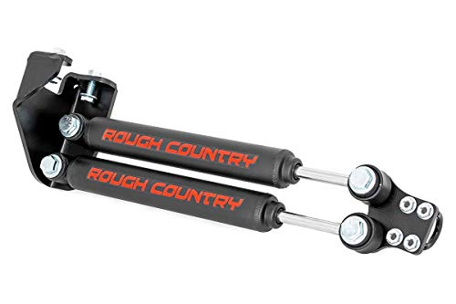 Rough Country Dual Steering Stabilizer (fits) 1987-1995 Jeep Wrangler YJ | 4-6.5' of Lift | Steering Damper | 87307