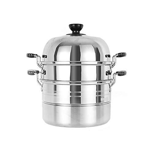 Olla de vapor de acero inoxidable de varias capas de vapor grande, 2 capas de acero inoxidable grueso para contacto con alimentos, universal para estufa de gas o cocina de inducción moderno 2-30cm Color