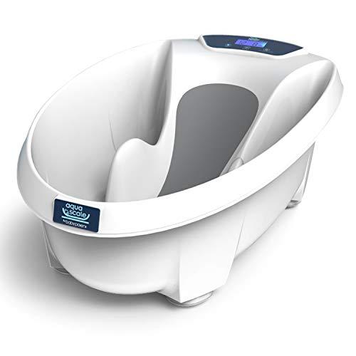 Aquascale Next Generation V3 20-40-001 Vaschetta per il Bagnetto del Neonato 3 in 1 con Bilancia Digitale Termometro Antiscivolo, 0-24 mesi, Bianco